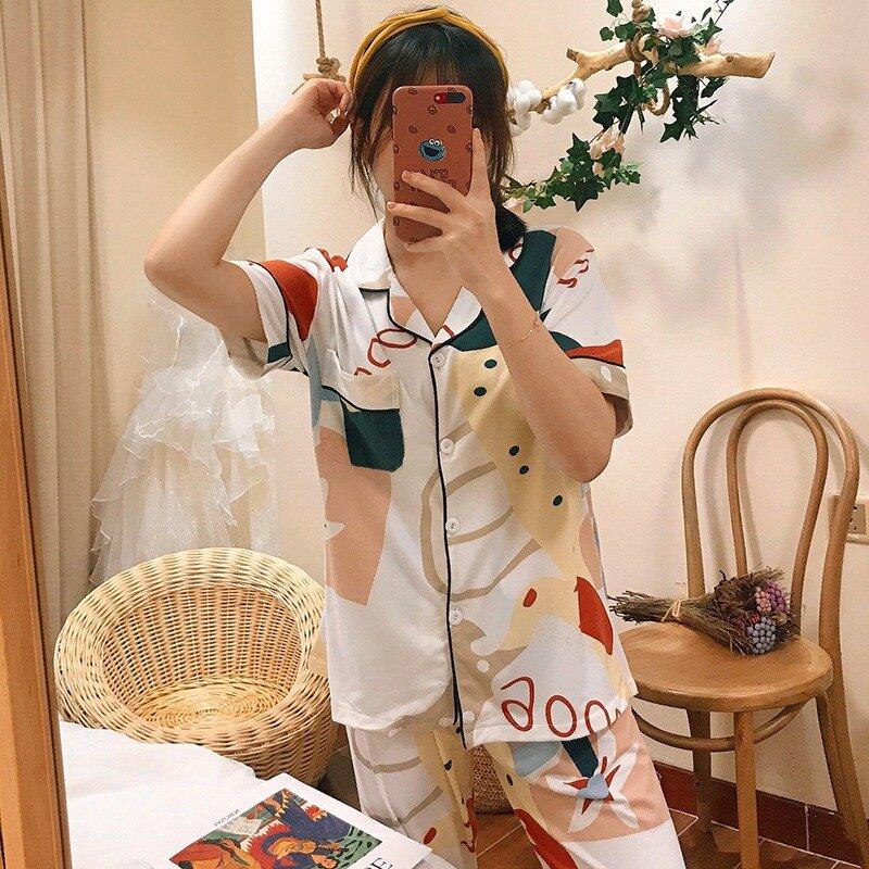 أطقم بيجامة نسائية مطبوعة بأكمام قصيرة ، بنطلون طويل ، ملابس نوم ، ملابس منزلية ، صيف 2020