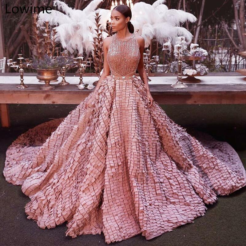 فستان سهرة فاخر باللون الوردي اللامع ، 2019 ، فستان سهرة طويل ، سجادة حمراء ، عرض كبير