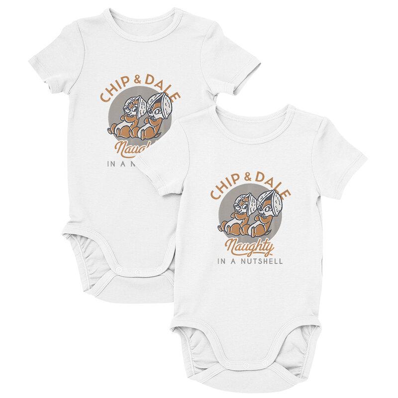 طفل الملابس ديزني رقاقة الموضة 'ن' ديل الكرتون الطباعة الصيف منتجات جديدة مستديرة الرقبة قصيرة الأكمام طقم قطعة واحدة للأطفال 0-24 متر لطيف