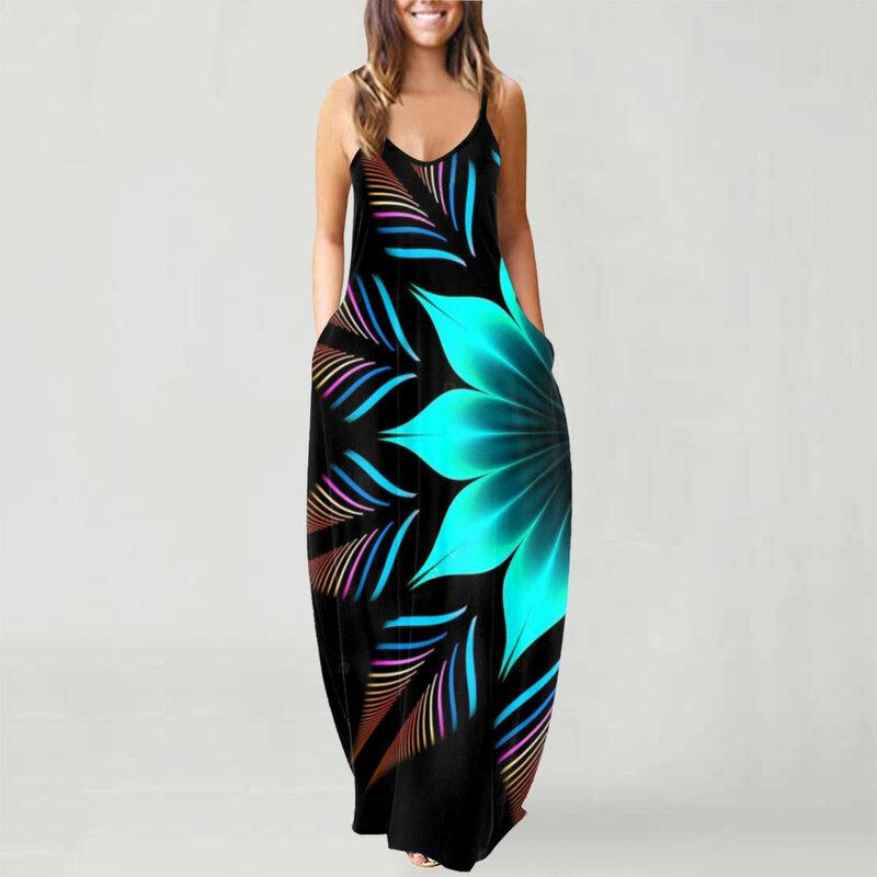 40 # المرقعة فستان طويل المرأة الصيف حجم كبير س الرقبة أكمام رداء فام Pullover عطلة البلوز ماكسي فستان Vestidos