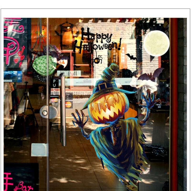 هالوين شريط نافذة زخرفة خلفية الوجهين اليقطين ملصقات جدار غرفة نوم غرفة المعيشة للإزالة متجر الديكور