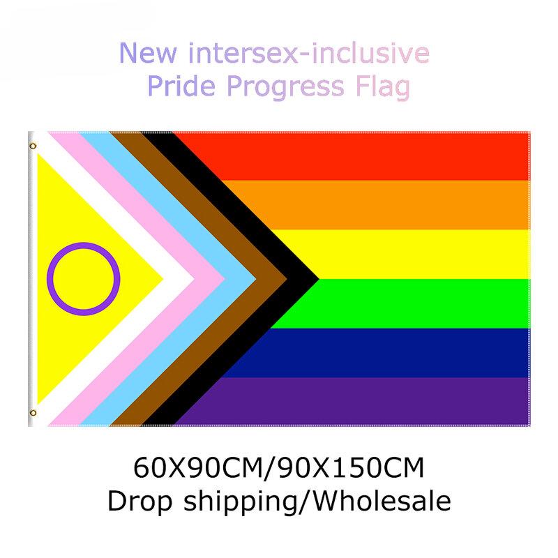 علم التقدم الفخر الجديد بين الجنسين يحصل على 2021 إعادة تصميم لتمثيل أفضل بين الجنسين أعلام قوس قزح LGBT