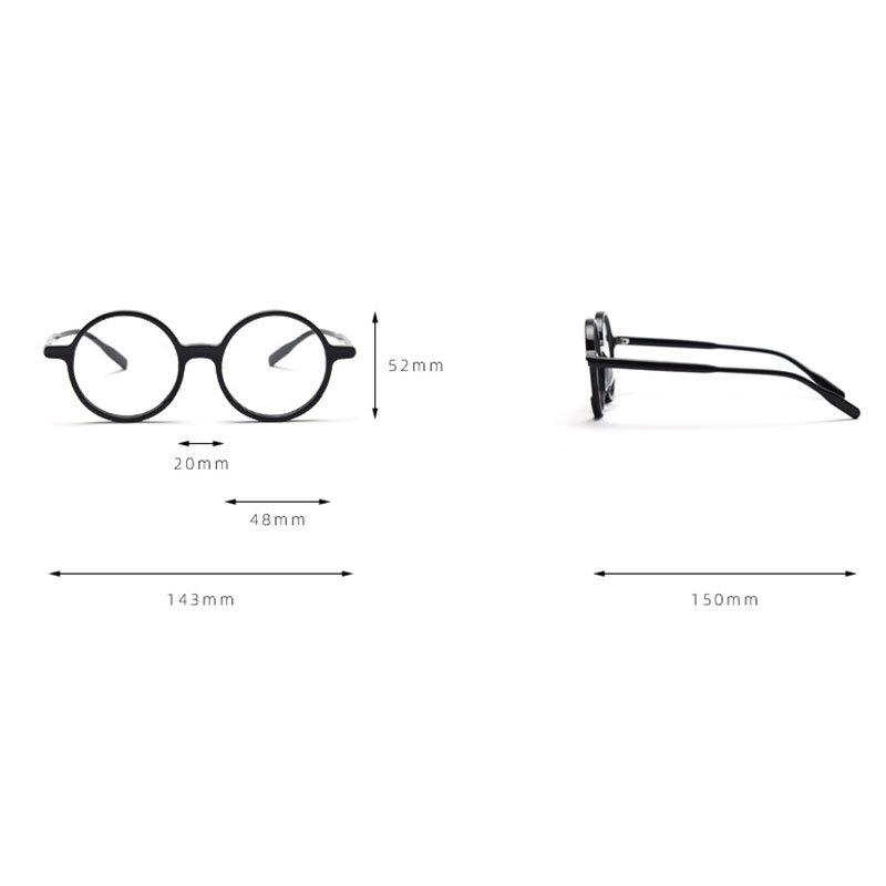 عدسات مسطحة خلات Reteo مستديرة النظارات إطار نظارات المرأة والرجل