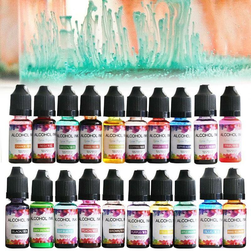 1 زجاجة 10 مللي حبر الفن لتقوم بها بنفسك UV راتنجات الايبوكسي نشر الكحول السائل نشر المجوهرات الحبر الحبر تلوين صبغ الحرفية الصباغ ل P9S8