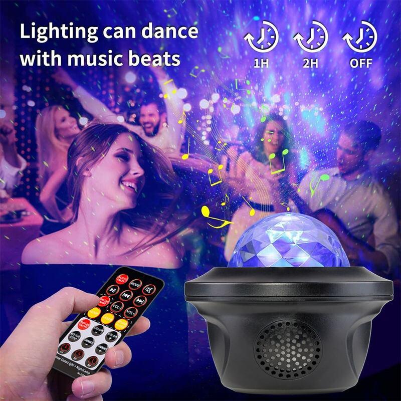 LED غالاكسي العارض المحيط موجة LED ليلة ضوء مشغل موسيقى عن بعد ستار الدورية ضوء الليل هدية للأطفال غرفة نوم مصباح