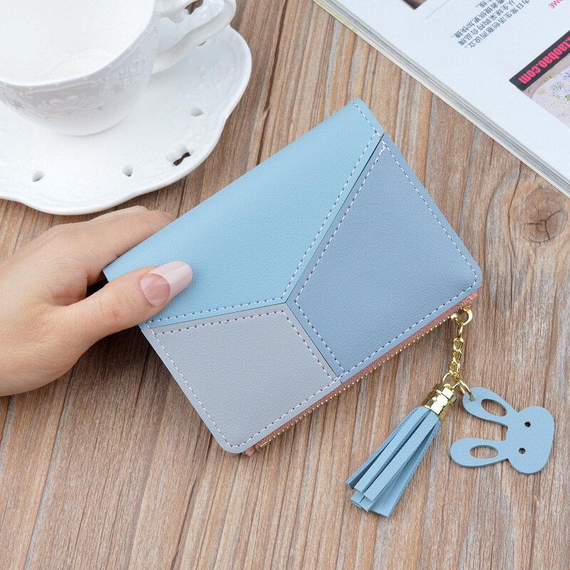 هندسية النساء لطيف الوردي محافظ جيب محفظة حامل بطاقة خليط محفظة سيدة الإناث موضة قصيرة عملة بيرس المال حقيبة