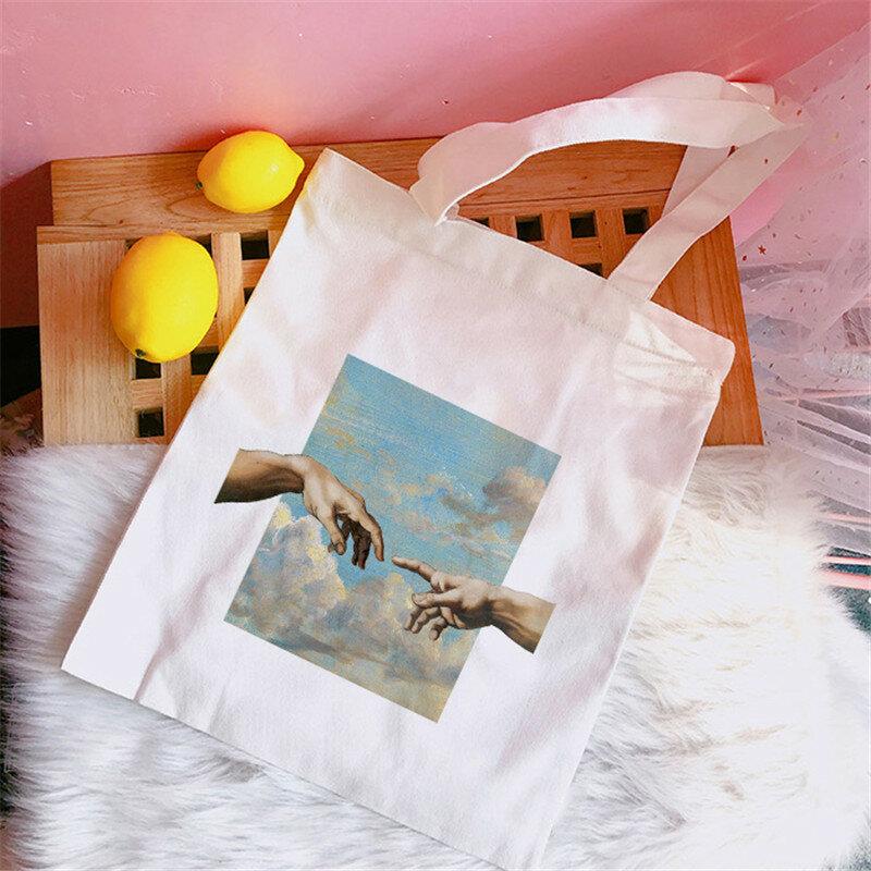 السيدات حمل المتسوق حقيبة الموضة Harajuku مضحك الجرافيك الإناث قماش حقيبة كتف قابلة لإعادة الاستخدام سعة كبيرة السيدات حقيبة تسوق