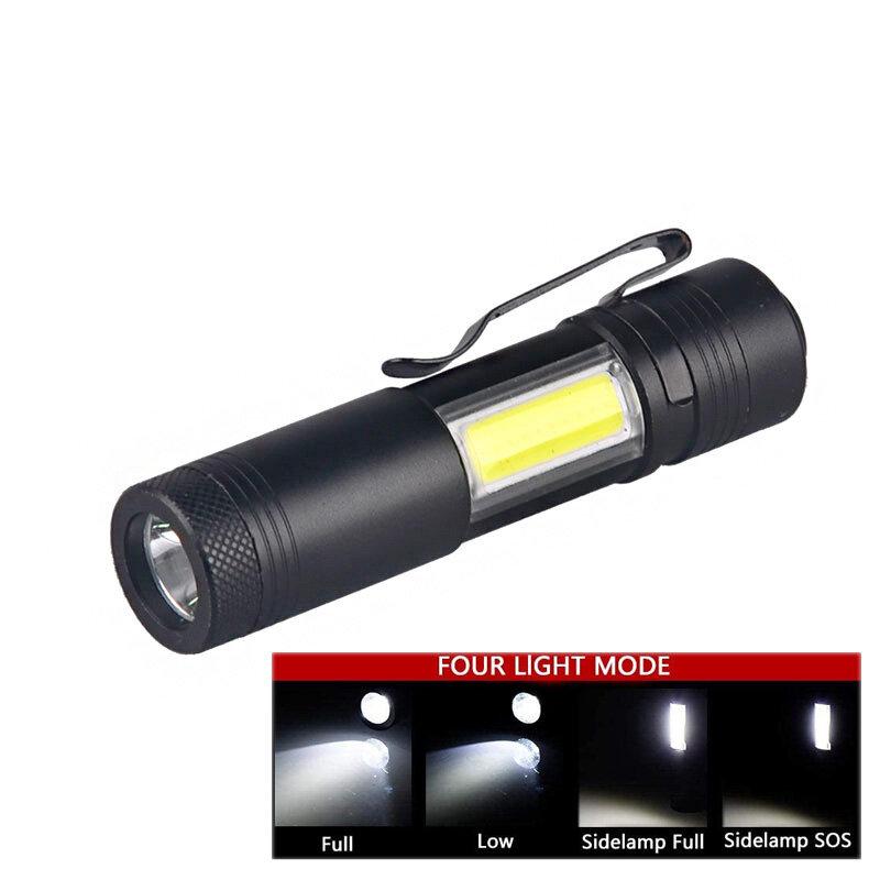Topcom-مصباح يدوي LED صغير محمول Q5 COB ، مصباح يدوي قوي 3 وات ، 4 أوضاع إضاءة ، مصباح يدوي مع مشبك للتخييم والصيد والقراءة