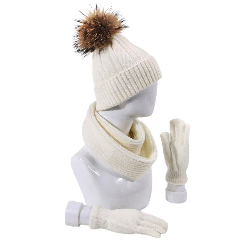 3 قطعة الرجال النساء قبعة صغيرة محبوكة قبعة وشاح قفازات مجموعة سميكة الشتاء الدافئة وهمية الكرة بوم بوم الرقبة أدفأ في الهواء الطلق