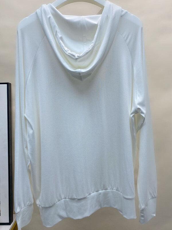ملابس النساء هوديس وبلوزات حجم كبير 2021 خريف جديد فضفاض غير رسمي مقنعين بلون بلايز 2057