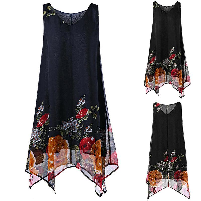 فستان صيفي نسائي 2020 مقاس كبير فستان من الشيفون بطبعات الأزهار موضة بلا أكمام غير النظامية هيم فستان قصير نسائي Vestidos