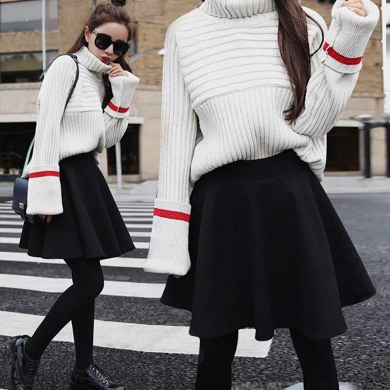 2021 أزياء السيدات الخريف الشتاء الصوف مطوي تنورة صغيرة تنورة عالية الخصر كوريا موضة عالية الجودة الأسود القوطية Kawaii