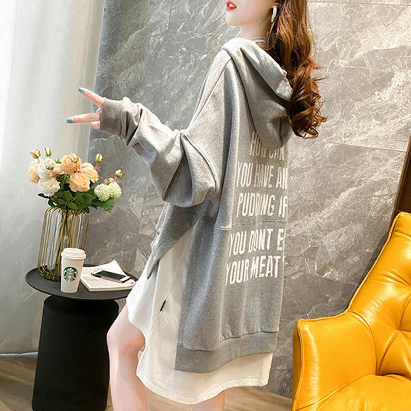وهمية اثنين مقنعين سترات المرأة الربيع والخريف 2021 النسخة الكورية الجديدة من طويلة فضفاضة الملح رقيقة معطف معطف حجم كبير