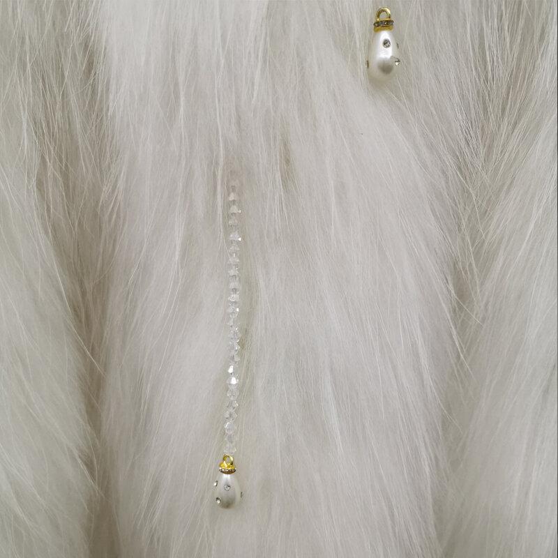 معطف نسائي منسوج من فرو الثعلب الحقيقي ، معطف نسائي منسوج يدويًا من فرو الراكون ، مع خرز قابل للفصل ، طول 60 سنتيمتر