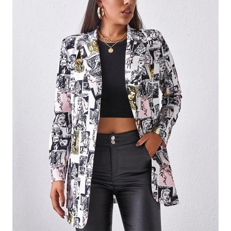 معطف بلازير عصري للنساء مطبوع بأكمام طويلة ملابس خارجية نسائية قطع علوية أنيقة كل مباراة سترة قسم رفيع 2021 خريف