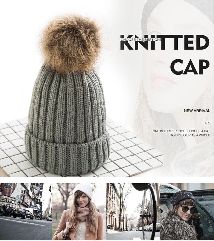 موضة الشعر الكرة الكبيرة النساء الأطفال الكورية نمط قبعات محبوك الصوف الدافئة الخريف الشتاء سميكة القبعات لسيدة الاطفال قبعات اصطناعية