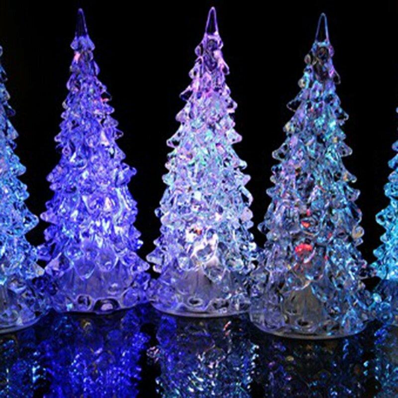 الاكريليك شجرة عيد الميلاد ضوء الليل الديكور أضواء ملونة الكريستال ضوء عيد الميلاد Led ديكور المنزل هدية الكريسماس