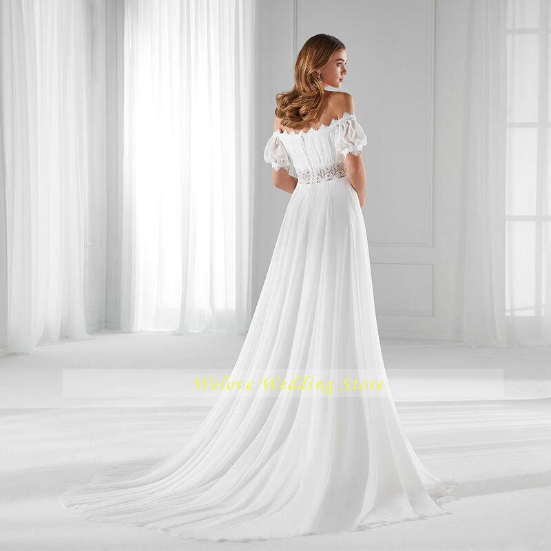 فستان زفاف بسيط قبالة الكتف حمالة الشيفون البوهيمي زر العودة خط قصير الأكمام ثوب زفاف حجم كبير