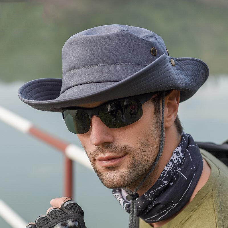 ثنائي الغرض في الهواء الطلق الصيد الصيف قابل للتعديل رعاة البقر صياد قبعة للرجال طوي Suncap دلو القبعات قبعة واقية من الشمس الرماد