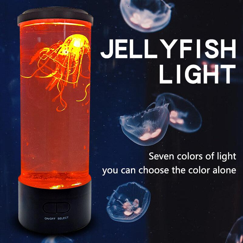 LED قنديل البحر مصباح رومانسية 7 اللون تغيير ضوء الليل مع 2 جيلي الأسماك التحكم عن بعد في مقعد غرفة ديكور هدايا ل ل