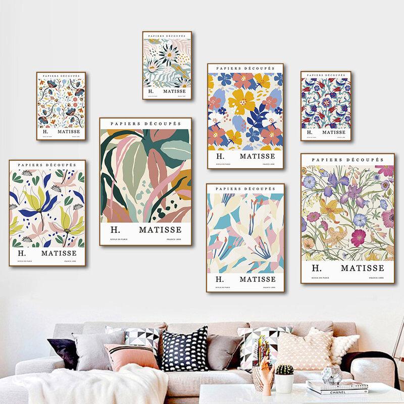 ماتيس اللون ورقة زهرة مجردة الرجعية الشمال الملصقات و يطبع الرسم على لوحات القماش الجدارية جدار صور لغرفة المعيشة ديكور