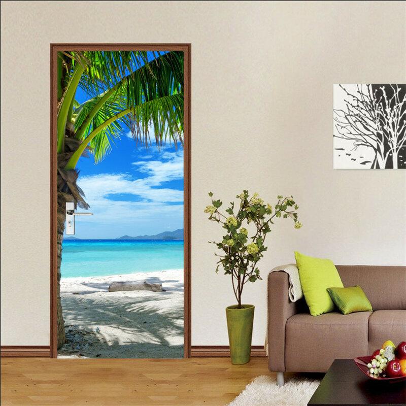 ثلاثية الأبعاد خلفية لباب ملصق ذاتية اللصق ملصق يدوي الصنع شاطئ البحر مشهد جدارية تصميم المنزل باب الديكور ملصقات مصورة porte