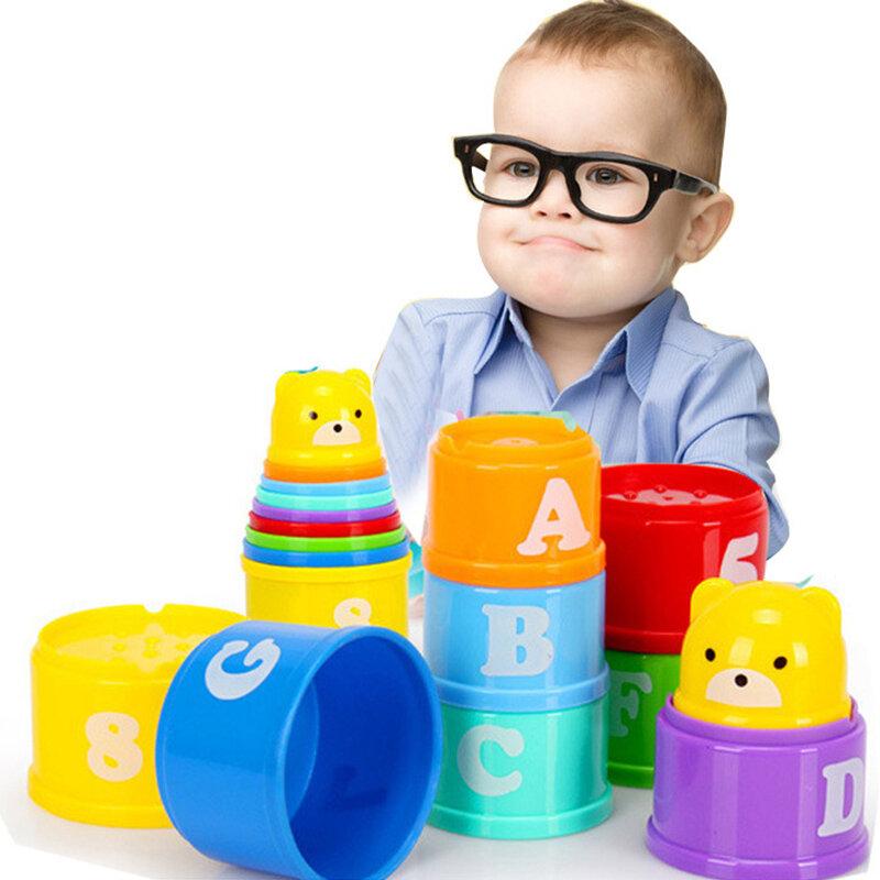 8 قطعة الذكاء المبكر التعليمية مرحلة ما قبل المدرسة الاطفال لعب للتعلم أرقام الحروف Foldind كومة كأس برج الأطفال l ألعاب
