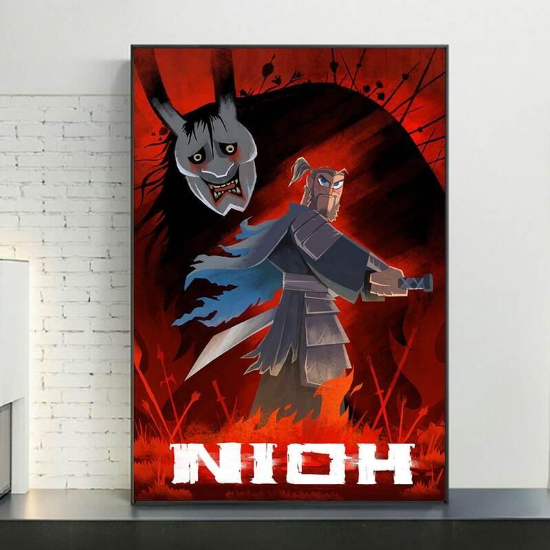 NIOH الساموراي جاك المزج لعبة فيديو المشارك HD يطبع اليابانية لعبة فيديو قماش اللوحة لغرفة المعيشة ديكور كوادروس