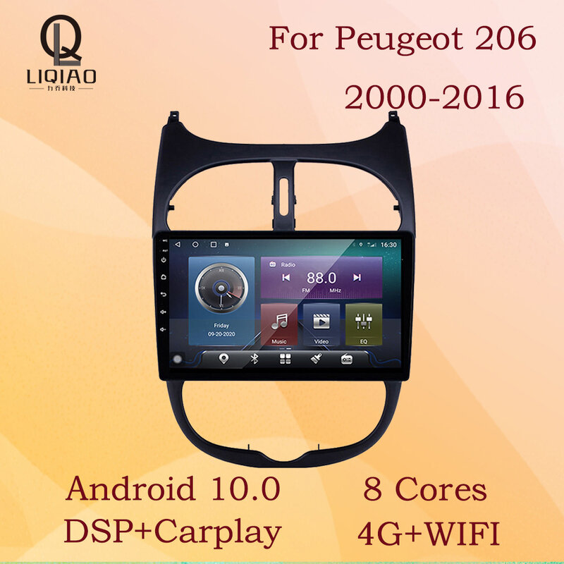 LIQIAO 2Din لبيجو 206 2000 - 2016 راديو السيارة السيارات الوسائط المتعددة لتحديد المواقع المسار Carplay واي فاي 4G مرآة ربط بلوتوث SWC 8-Core USB