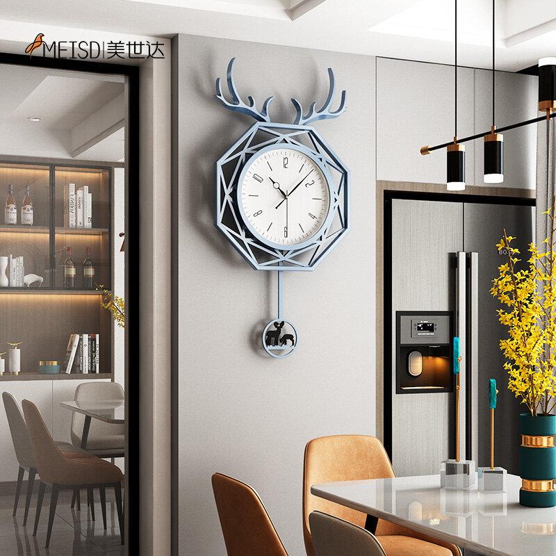 MEISD الايبوكسي الراتنج ساعة حائط البندول ساعة الغزلان الحديثة ديكور الأخضر Horloge غرفة المعيشة ديكور المنزل الداخلية شحن مجاني