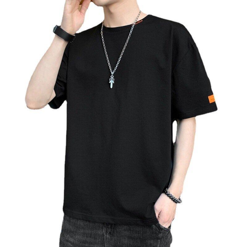 موضة صيف 965 للرجال قميص قطني ممتاز غير رسمي أنيق أساسي للرجال برقبة دائرية وذو 9 ألوان بلوفر للرجال بأكمام قصيرة