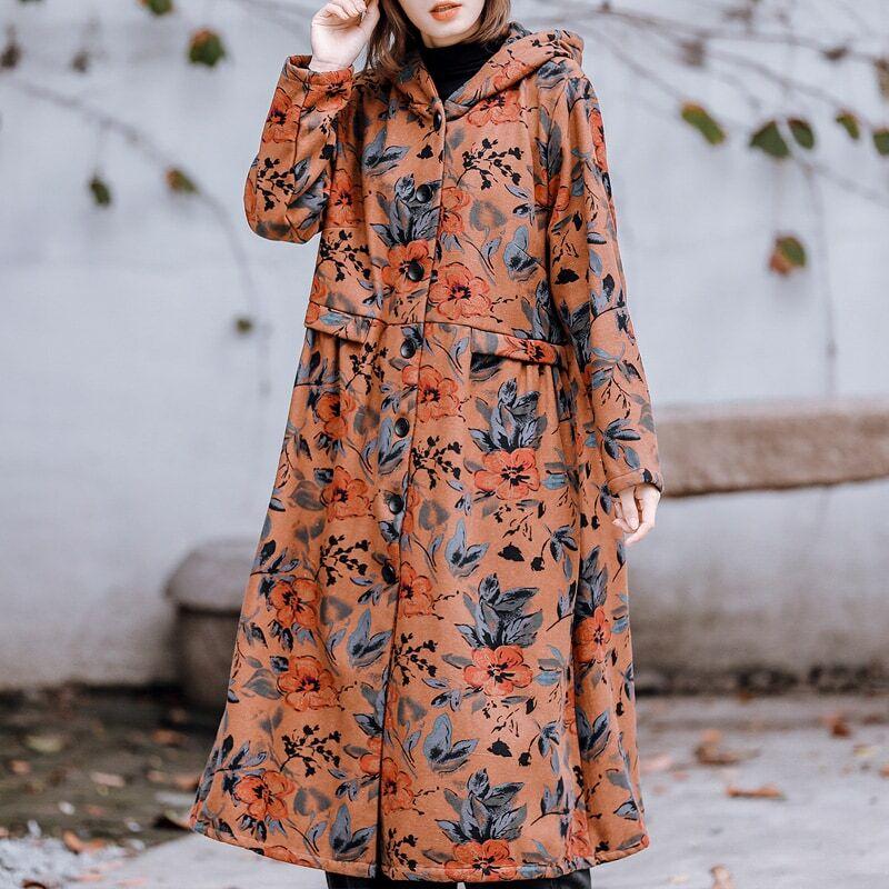 خريف شتاء ملابس النساء جديد القطن الكتان المخملية الطباعة الدافئة مقنعين سترة واقية سترة البرية سترة منتصف طول القطن معطف