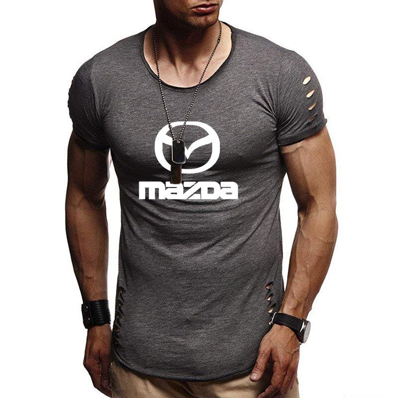 جديد 2020 الصيف الرجال قصيرة الأكمام مازدا شعار سيارة الطباعة القطن عادية س الرقبة كم قصير رجال تي شيرت