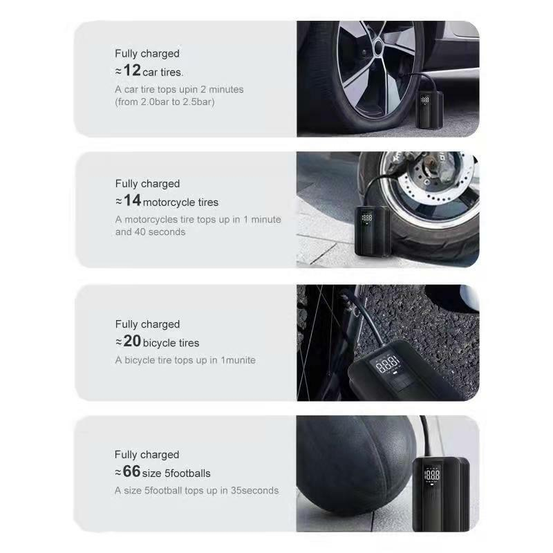 Realsun المحمولة مضخة نفخ سيارة صغيرة ضاغط كشف الضغط قابلة للشحن الرقمية 150PSI السيارات لسيارة دراجة نارية