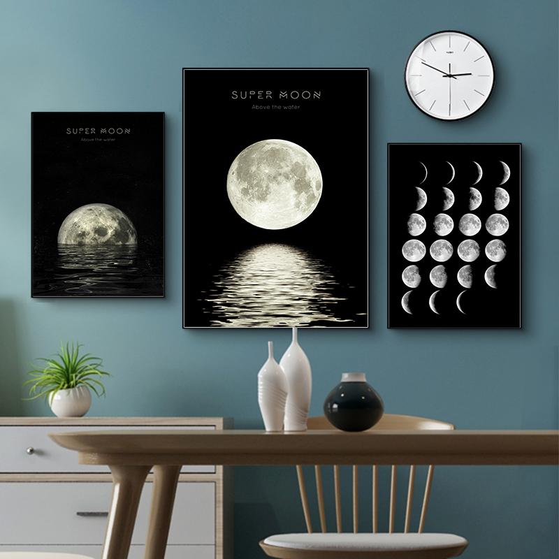 أسود القمر قماش المشارك طباعة الحديثة ديكور المنزل مجردة جدار الفن اللوحة الشمال غرفة المعيشة الديكور صورة