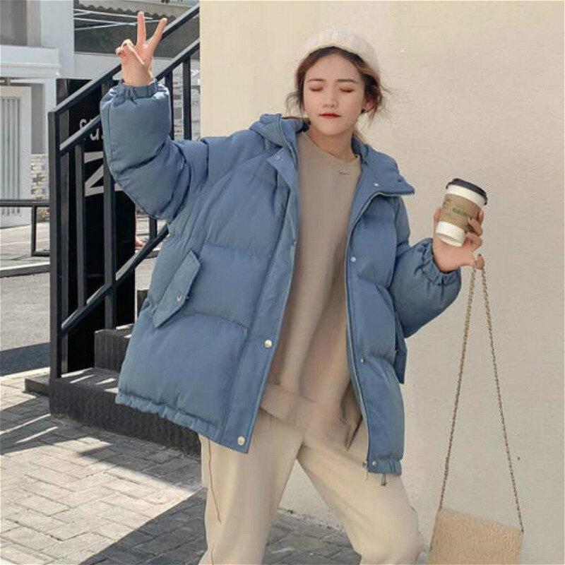 المرأة قصيرة سترة ملابس خارجية سمكا شتاء دافئ الكورية فضفاض مقنعين جيوب طالب عادي فام البخاخ معاطف