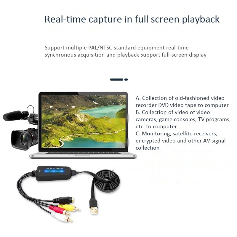 USB 2.0 فيديو بطاقة التقاط الصوت والفيديو قناة واحدة USB بطاقة التقاط الصوت والفيديو AV التقاط جهاز محرك الحرة محول رقمي