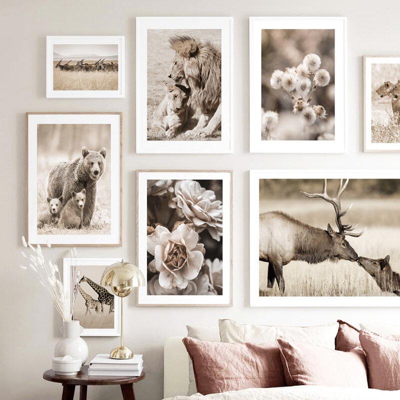 الأسد النمر الدب الهندباء الزهور المراعي الحيوانات الرسم على لوحات القماش الجدارية الملصقات والمطبوعات غرفة المعيشة الشمال نمط ديكور