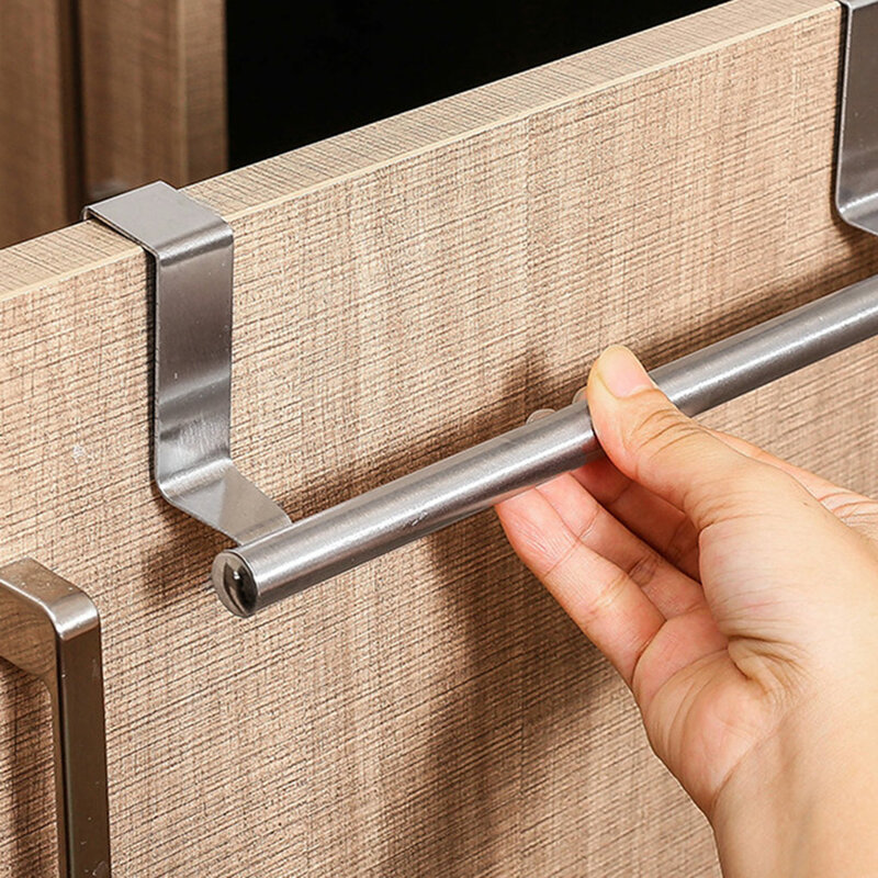 منشفة رف على الباب منشفة بار حامل معلق حمام من الفولاذ المقاوم للصدأ خزانة المطبخ الرف شماعات