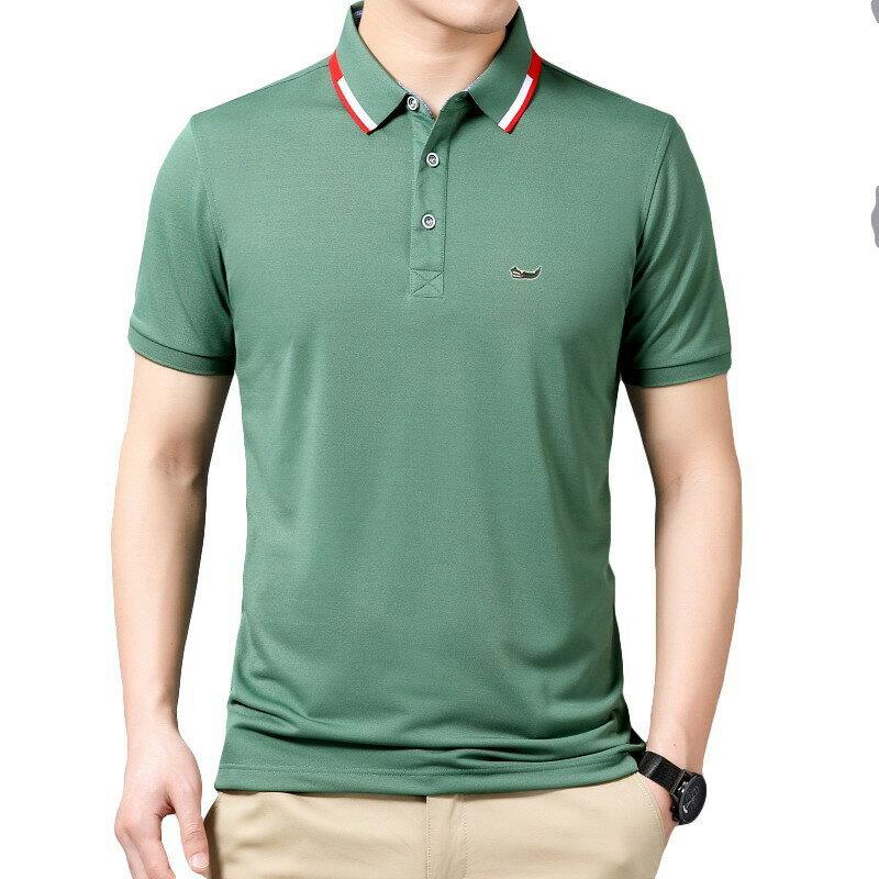9 ألوان ماركة عالية الجودة الحرير الجليد الألياف Polos الرجال التطريز بولو القرش يانغ قميص الرجال خليط غير رسمي الذكور الملابس