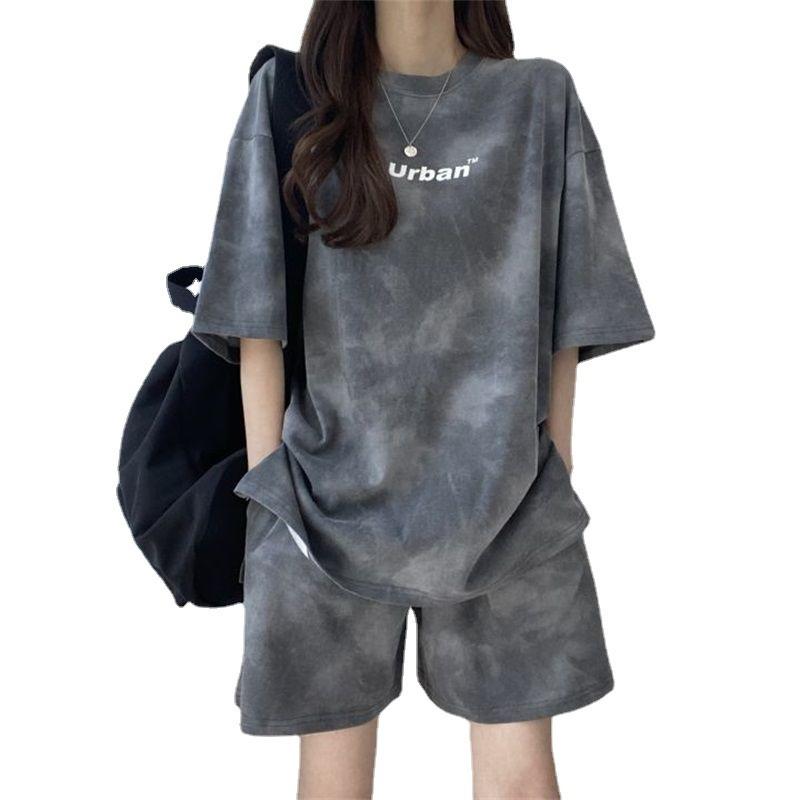 قصيرة الأكمام السراويل النسائية قطعتين مجموعة 2021 جديد الصيف موضة ملابس رياضية عصرية مجموعة الطلاب تشغيل فضفاض