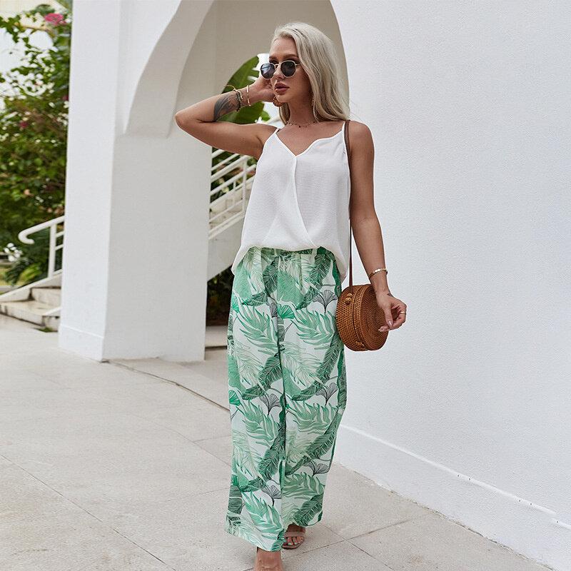 صيف 2021 ملابس نسائية موضة ملابس غير رسمية شاطئ الرياح حبال شيفون معطف أبيض بنطال ذو قصة أرجل واسعة طباعة حفلة بدلة يومية