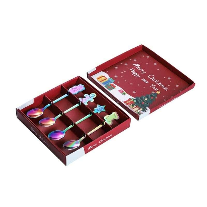 4 قطع عيد الميلاد قاعدة الملاعق الفولاذ المقاوم للصدأ ملاعق عيد الميلاد اثارة ملعقة القهوة الشاي الحلوى خلط ملاعق للمشروبات