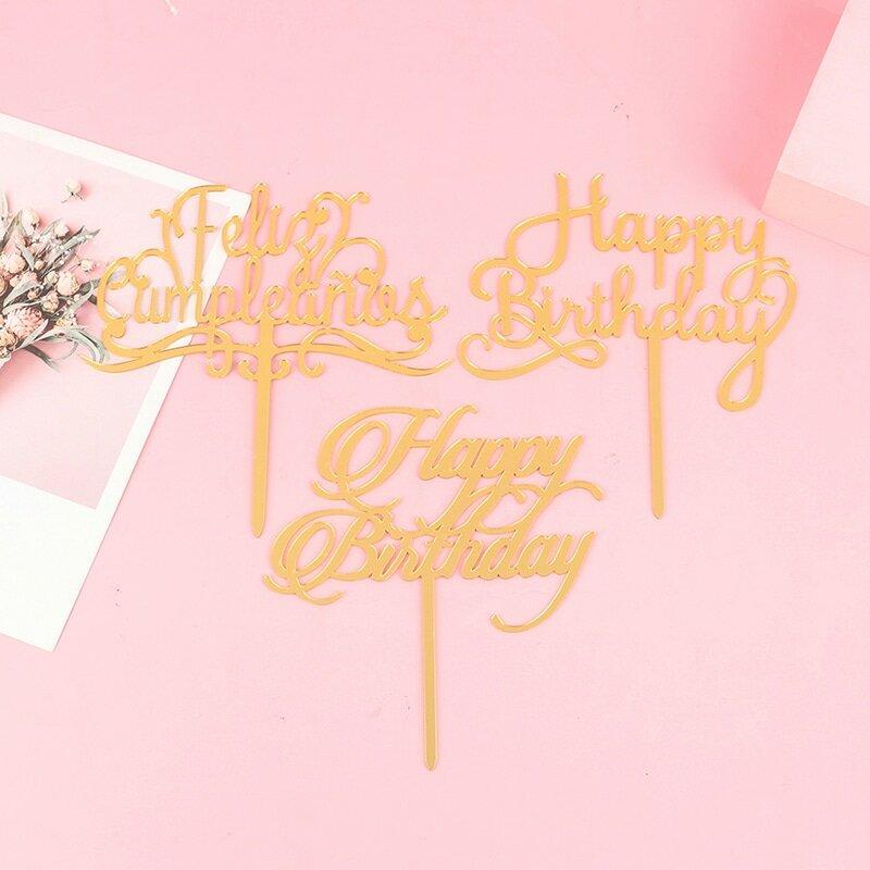 الاكريليك عيد ميلاد سعيد قطاعات الكيك كعكة توبر كعكة عيد ميلاد ديكور العلم الأعلى