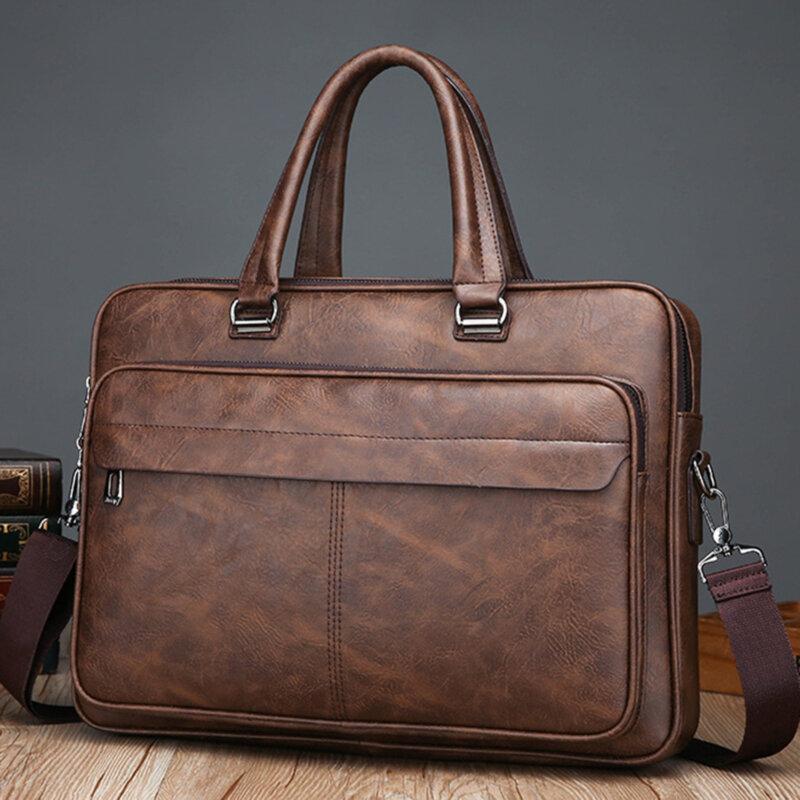 الرجال رسول حقيبة حاسوب رجل 14 بوصة الجلود حقيبة كمبيوتر محمول حقيبة يد واحدة الكتف حقائب بولسو Bandolera Hombre ساك أوم