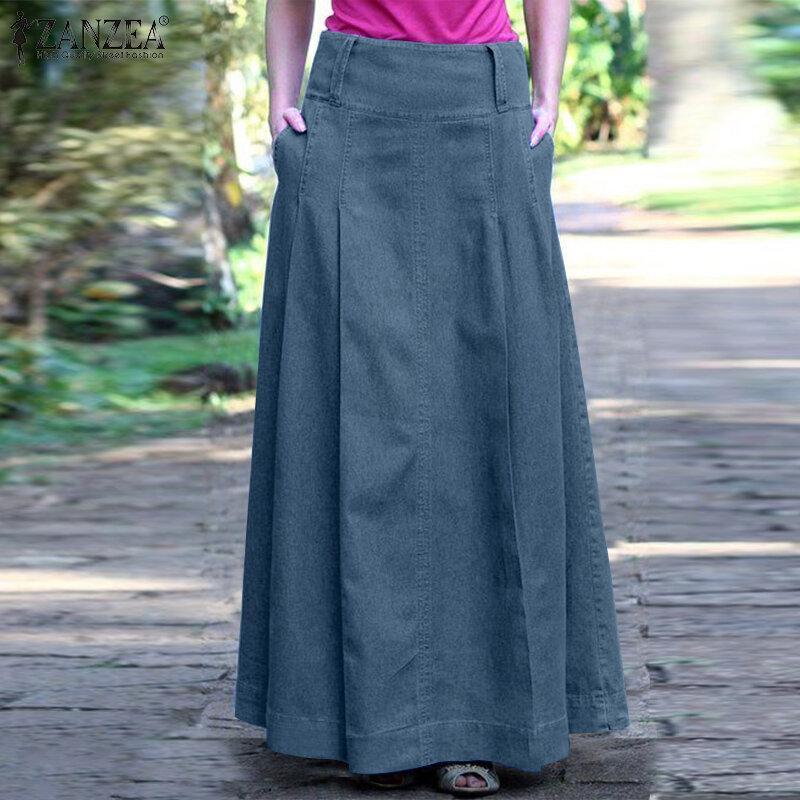 تنورة نسائية طويلة من ZANZEA للصيف من قماش الدنيم الأزرق تنانير نسائية طويلة فستان ماكسي متينة بخصر عتيق تنورة من A-lien تنورة من Faldas Saia