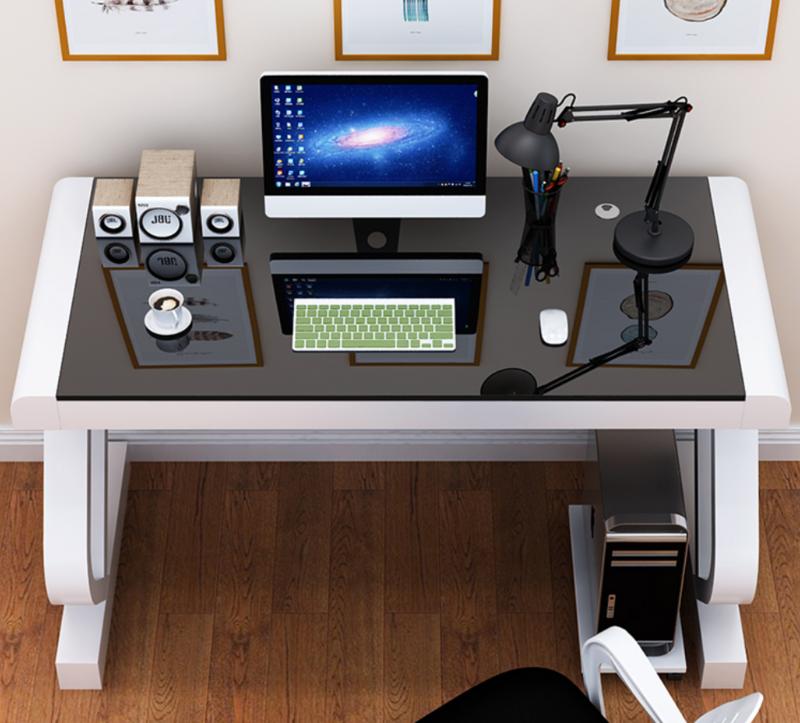 مكتب كمبيوتر منزلي مع لوحة مفاتيح ، مكتب بسيط للكتابة من الزجاج المقسى ، اقتصادي