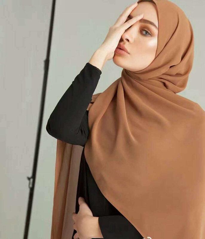 المرأة عادي فقاعة وشاح شيفون الحجاب التفاف مطبوعة بلون شالات عقال النساء الحجاب الأوشحة/وشاح 60 ألوان