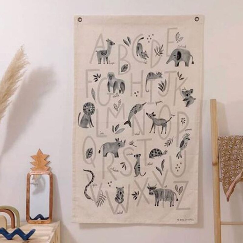 الشمال جدار معلق اللوحة صورة القماش التعليمية غرفة الاطفال خريطة العالم الديكور المشارك الحضانة الفن قماش