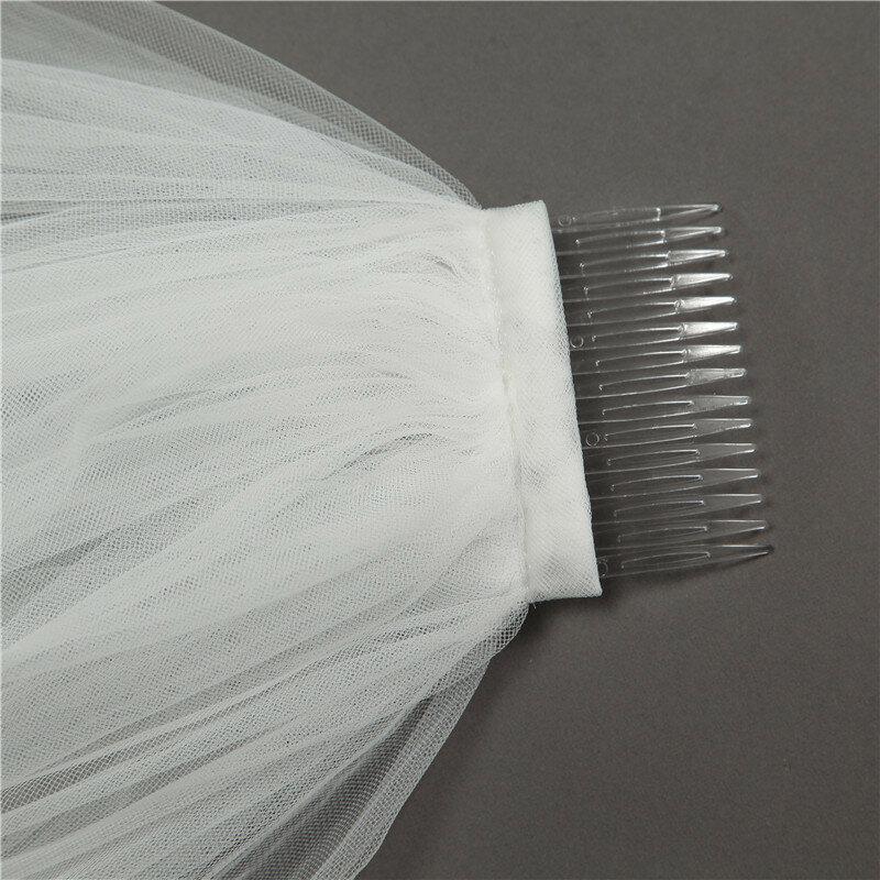 الحجاب 2021 سلسلة اللؤلؤ الأبيض HL133 قصيرة طبقة واحدة مشط معدني الحجاب الزفاف السويسري لينة شبكة إجمالي طول 0.9 سنتيمتر العرض 140 سنتيمتر